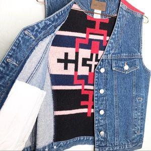 Vintage Pendleton Jean Denim Aztec Wool Vest